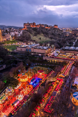 Princes Street Garden at Christmas - view from above