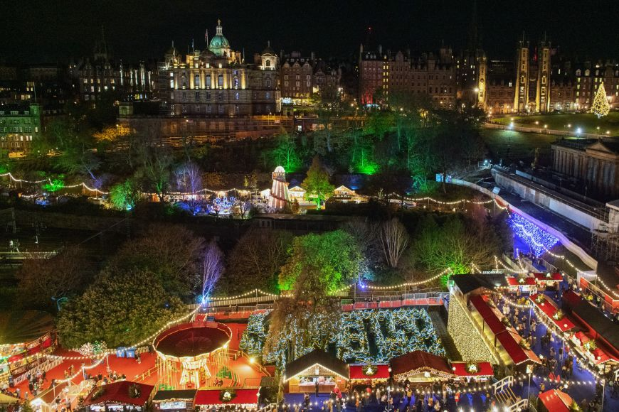 Edinburgh's Christmas Market at night, November 2019
