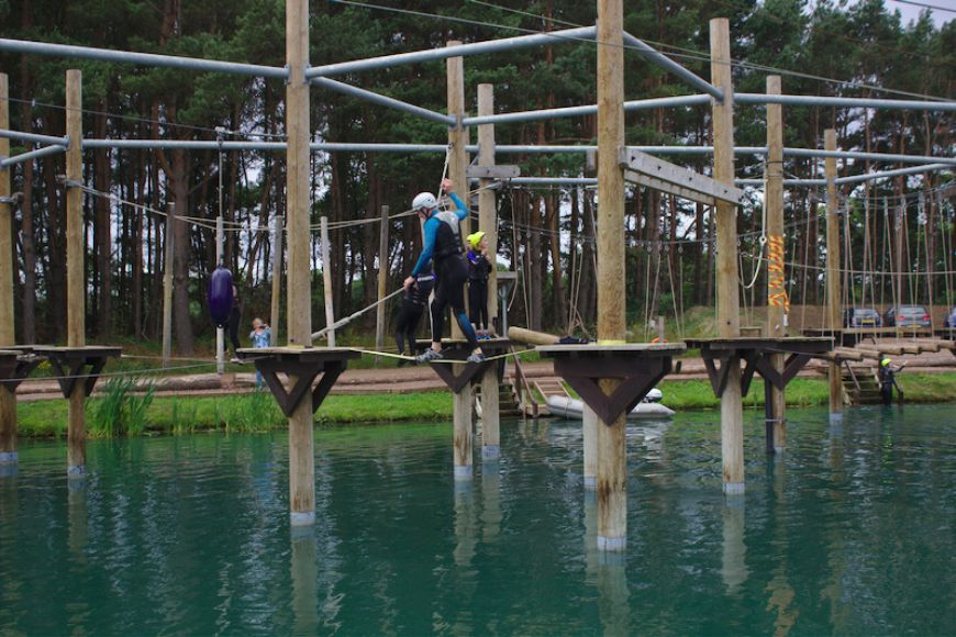 Tight rope walk at Foxlake Adventures