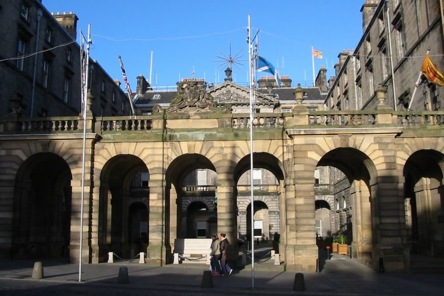 Stone of Remembrance at front of Edinburgh City Chambers
