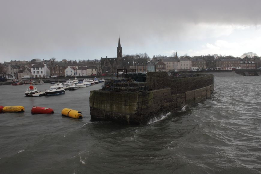 Newhaven harbour on a wet, windy, March day